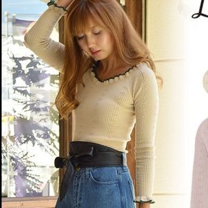 japanese brand Lily Brown fitted knitted top